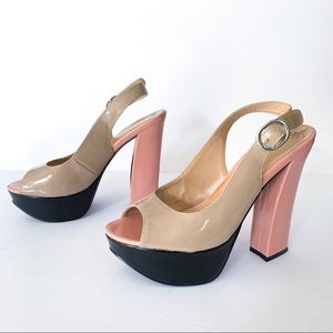 Chinese Laundry Fast Time Color Block Heels Sz 8
